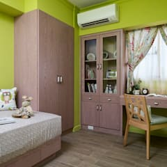 Teen bedroom by 采荷設計(Color-Lotus Design), Country Wood Wood effect