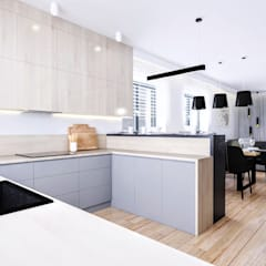 مطبخ ذو قطع مدمجة تنفيذ Klaudia Tworo Projektowanie Wnętrz Sp. z o.o.