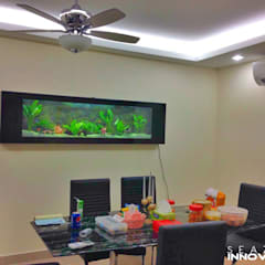 Conversation Piece for Your Dining Area - Crystal Black Wall Mounted Aquarium 7 feet Tropical style dining room by Seazone Innovative Sdn Bhd Tropical
