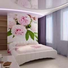 Спальня с пионами: Спальни в . Автор – Дизайн студия 'Exmod' Павел Цунев