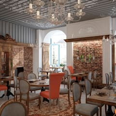 Дизайн интерьера основного зала ресторана в стиле кантри: Коммерческие помещения в . Автор – Art-i-Chok
