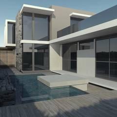 Vivienda en Cortaderas de la Noria: Jardines de estilo  por Azcona Vega Arquitectos