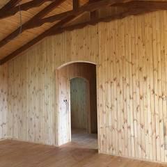KAYALAR AHŞAP KERESTE ÜRÜNLERİ – Ahşap bungalov kütük ev:  tarz Oturma Odası