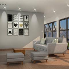 Residencia Minimalista: Salas de estar  por Fabio Mimaki Arquitetura