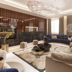 :  غرفة المعيشة تنفيذ Spazio Interior Decoration LLC,حداثي خشب نقي  Multicolored