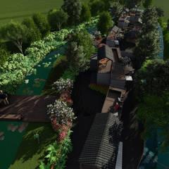 suites contenedores y río: Jardines en la fachada de estilo  por Verde Lavanda