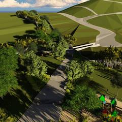 vista general parque: Jardines en la fachada de estilo  por Verde Lavanda