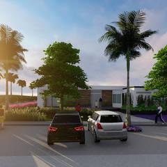 estacionamiento: Jardines en la fachada de estilo  por Verde Lavanda