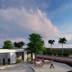 detalle terraza: Jardines en la fachada de estilo  por Verde Lavanda