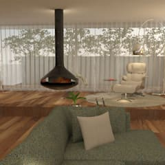 Open Space: Um espaço, quatro ambientes: Salas de estar  por Casactiva Interiores,Moderno Madeira Acabamento em madeira
