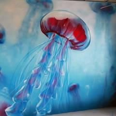 Graffiti Job im Büro für einen Wasserbetrieb in Hannover:  Messe Design von Graffiti Künstler Bill Knospi