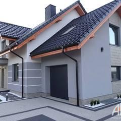 Projekt elewacji wraz z otoczeniem, ogrodzeniem i budynkiem garażu. od AKAart Pracownia Projektowa Nowoczesny