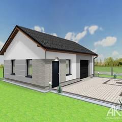 Projekt elewacji wraz z otoczeniem, ogrodzeniem i budynkiem garażu.: styl , w kategorii Garaż zaprojektowany przez AKAart Pracownia Projektowa