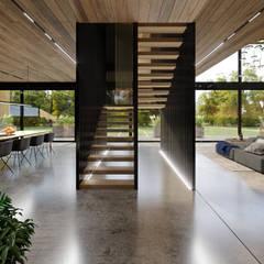 Ristrutturazione Ingresso e sale relax per ufficio aVancouver: Scale in stile  di Atelier116
