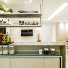 Cozinha/ Sala: Cozinhas tropicais por Coletânea Arquitetos