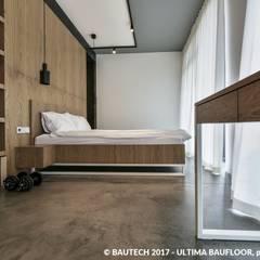 Nowoczesny, męski apartament : styl , w kategorii Sypialnia zaprojektowany przez Bautech Sp. Z O.O.