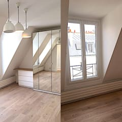 Appartement sous comble rue de la pompe Paris 16: Salon de style  par 2002