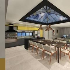 casa jardim do golfe : Armários e bancadas de cozinha  por okha arquitetura e design