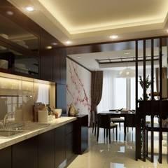 """Đẹp """"Rụng Tim"""" Với Mẫu Thiết Kế Nhà Ống 4 Tầng Kiểu Nhật Hiện Đại:  Bếp xây sẵn by Công ty TNHH Xây Dựng TM – DV Song Phát"""