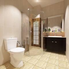 """Đẹp """"Rụng Tim"""" Với Mẫu Thiết Kế Nhà Ống 4 Tầng Kiểu Nhật Hiện Đại:  Phòng tắm by Công ty TNHH Xây Dựng TM – DV Song Phát"""