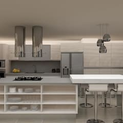 Diseño Cocina y Mueble Tv: Muebles de cocinas de estilo  por Arq. Barbara Bolivar, Moderno Madera Acabado en madera