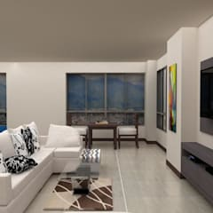 Diseño Cocina y Mueble Tv: Salas / recibidores de estilo  por Arq. Barbara Bolivar