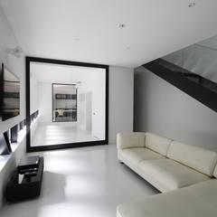 箱形の住宅 A-annex: 石川淳建築設計事務所が手掛けたリビングです。
