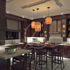 Luxury Kerala House Traditional Interior Design:  Kitchen units by Comelite Architecture, Structure and Interior Design