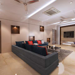 Residence-Pinjaniji:  Living room by KHOWAL ARCHITECTS + PLANNERS