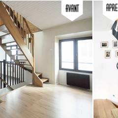 Rénovation complète d'une Maison de ville à Vincennes: Salon de style  par GRAM Architecture