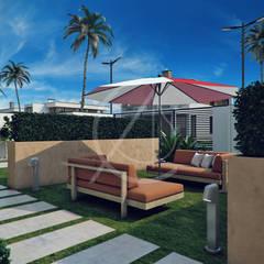 Modern Arabic House Design:  Front garden by Comelite Architecture, Structure and Interior Design