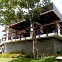 Fachada frontal - vista 01: Casas do campo e fazendas  por kleyton abreu arquitetura
