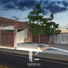 Acceso Fraccionamiento : Villas de estilo  por Nueve 3/4, Clásico Ladrillos