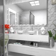 Projeto de Interiores - Casa Bergen: Banheiros  por Multiplanos Arquitetura