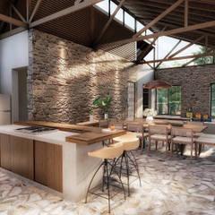Casa de campo: Salas de jantar  por realizearquiteturaS,Campestre