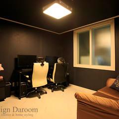 Salas multimedia de estilo rústico por Design Daroom 디자인다룸