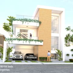 Fachada: Casas familiares  por TREVISO Studio Arquitetura e Interiores
