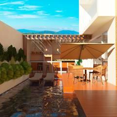 Piscina e espaço gourmet: Casas familiares  por TREVISO Studio Arquitetura e Interiores