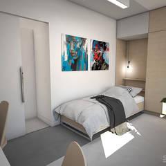 Interieurontwerp 3D impressie logeerkamer:  Slaapkamer door Studio-em