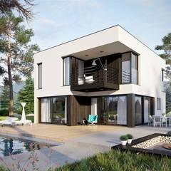 Projekt domu EX 2 soft - nowoczesna kostka w najlepszym wydaniu : styl , w kategorii Dom jednorodzinny zaprojektowany przez Pracownia Projektowa ARCHIPELAG