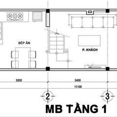 Tư Vấn Thiết Kế Xây Nhà 2 Tầng Có Sân Thượng Với Chi Phí 640 Triệu:  Nhà gia đình by Công ty TNHH Xây Dựng TM – DV Song Phát