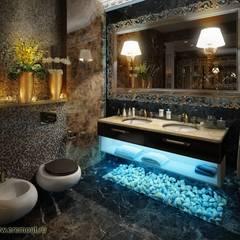 Дизайн и ремонт квартиры в ЖК «Миракс Парк» — Венецианская роскошь : Ванные комнаты в . Автор – Вира-АртСтрой