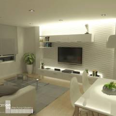 Estudio de interior:  materiales, iluminación y distribución: Salones de estilo  de Paula Sarrión