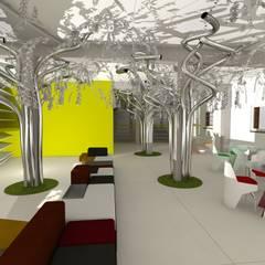 riuso di un capannone industriale piano terra: Spazi commerciali in stile  di Simone Fratta Architetto