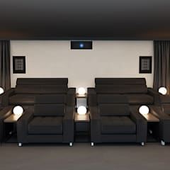 Home Cinema Room Rear View showing Speakers:  Electronics by Custom Controls