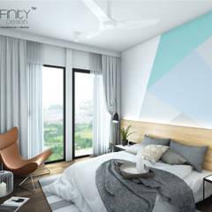 Scandinavian Design . Condominium:  Bedroom by inDfinity Design (M) SDN BHD