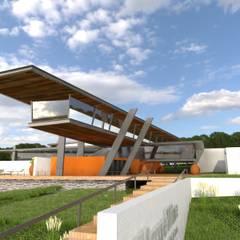 Vista do Edifício Restaurante no primeiro piso.: Centros de exposições  por Arbisland Arquitectura & Design
