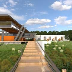 Vista de Restaurante e Edifício de Hospedagem.: Centros de exposições  por Arbisland Arquitectura & Design
