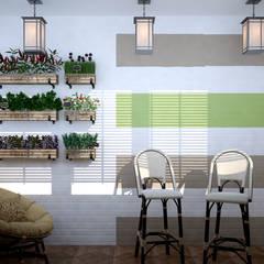 Дизайн балкона на кухне в квартире в стиле постмодернизм по ул. Дальняя, г.Краснодар: Кухни в . Автор – Студия интерьерного дизайна happy.design