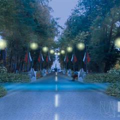 Аллея героев. Вид на парный монумент. Вечерняя посветка: Передний двор в . Автор – Архитектурно-производственная группа ИОЛЛА